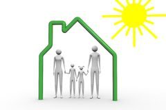 Family under the sun. Family with children in the house and under the sun Stock Image