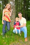 Family under a tree in park stock photos