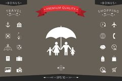 Family under umbrella - Family protect icon. Signs and symbols - graphic elements for your design Stock Photo