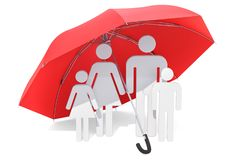 Family under umbrella. Healthcare and medical insurance concept. 3D rendering isolated on white background vector illustration