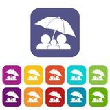 Family under umbrella icons set Stock Photos