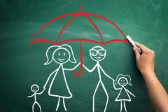 Family under umbrella Stock Images