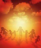 Family united together. Family paper chain cutout holding hands Stock Images