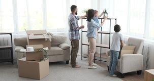 Family moving into new home stock footage