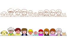 Family upper body border set Royalty Free Stock Images