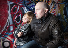 Family urban father son city Stock Images