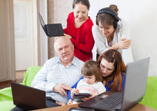 Family uses  various electronic devices Royalty Free Stock Photo