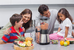 Family using a blender Stock Photography