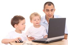 Family using laptop Stock Photos