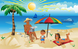 A family on vacation Stock Image