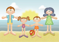 Family Vacation. Family summer vacation on the beach Royalty Free Stock Photo