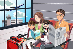 Family vacation. A vector illustration of a family going on a vacation waiting in the airport Royalty Free Stock Photos