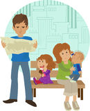 Family Vacation. Cute family on vacation with a stylized cityscape in the background. Eps10 stock illustration