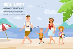 Family Vacation on Beach. Vector Illustration. stock illustration