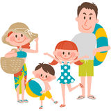 A family vacation on the beachfront. Vector illustration of a family vacation on the beachfront Royalty Free Stock Image
