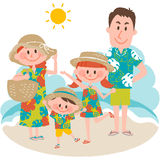 A family vacation on the beachfront stock illustration