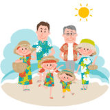 A family vacation on the beachfront. Vector illustration of a family vacation on the beachfront Royalty Free Stock Photography