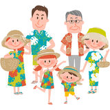 A family vacation on the beachfront Stock Images
