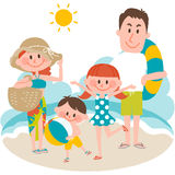A family vacation on the beachfront. Vector illustration of a family vacation on the beachfront royalty free illustration