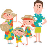 A family vacation on the beachfront. Vector illustration of a family vacation on the beachfront stock illustration