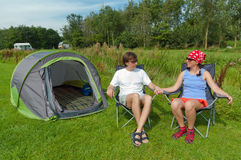 Family vacation in camping Royalty Free Stock Photo