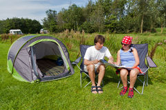 Family vacation in camping Stock Photos