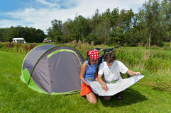 Family vacation in camping Stock Images