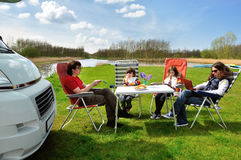 Family vacation in camping royalty free stock image