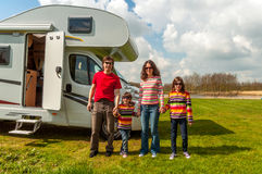 Family vacation in camping, holiday trip in camper Royalty Free Stock Images
