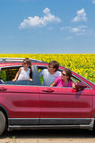Family vacation, car trip. Family vacation. Parents with child in car trip. Vertical image stock images