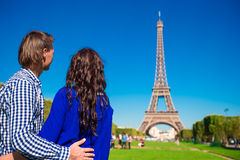Family vacation on the Champ de Mars in Paris Royalty Free Stock Photography