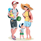 Family vacation with children and suitcases Stock Photo