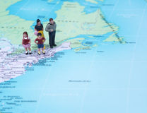 Family vacation concept destination New York. On map Stock Photo