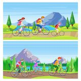 Family vacation, cycling and outdoors sports activity. Vector horizontal banner set. Mom, dad, kid riding bicycles. Family vacation, cycling and outdoors sports vector illustration