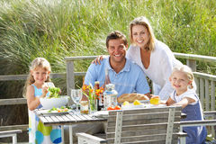 Family on vacation eating outdoors Royalty Free Stock Photography