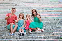 Family vacation in Europe. Parents and kids on Spanish steps in Rome Royalty Free Stock Images