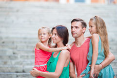 Family vacation in Europe. Portrait of four in Rome Stock Photo