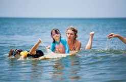 Family on vacation. Family Surfing. Summer holidays. The family on vacation. Family Surfing. Summer holidays royalty free stock photo