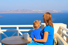 Family on vacation in Greece Stock Photo