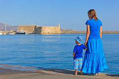 Family on vacation in Greece Stock Image
