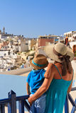 Family on vacation in Greece Stock Photos