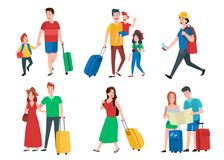 Family vacation. Happy tourist holiday vacations, travel couple and tourists group cartoon vector set. Family vacation. Happy tourist holiday vacations, travel vector illustration