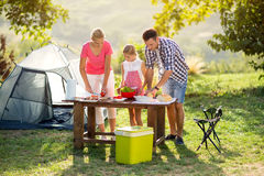Family on vacation having barbecue Stock Image