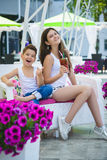 Family On Vacation Having Fun at Outdoor Pool.  Royalty Free Stock Images