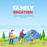 Family vacation, hiking and outdoors sports activity. Mom, dad and son walking on mountain road. Vector illustration. Family vacation, hiking and outdoors royalty free illustration