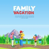 Family vacation, hiking and outdoors sports activity. Vector cartoon style illustration. Mom, dad and daughter walking on mountain road and making photo stock illustration