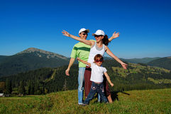 Family vacation in mountain Stock Images