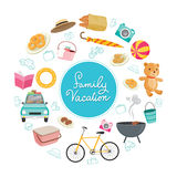 Family Vacation Objects Icons on Round Frame. Vacations Holiday Relationship Cheerful Togetherness Lifestyle Royalty Free Stock Images