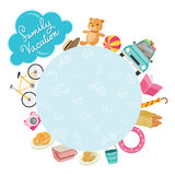 Family Vacation Objects Icons on Round Frame. Vacations Holiday Relationship Cheerful Togetherness Lifestyle Stock Images