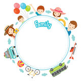 Family Vacation Objects on Round Frame Royalty Free Stock Photo